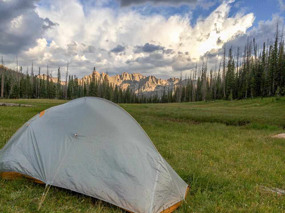 encampment meadows with tent